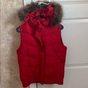 Vest with removable fur hood